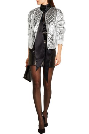 SAINT LAURENT Quilted metallic leather bomber jacket