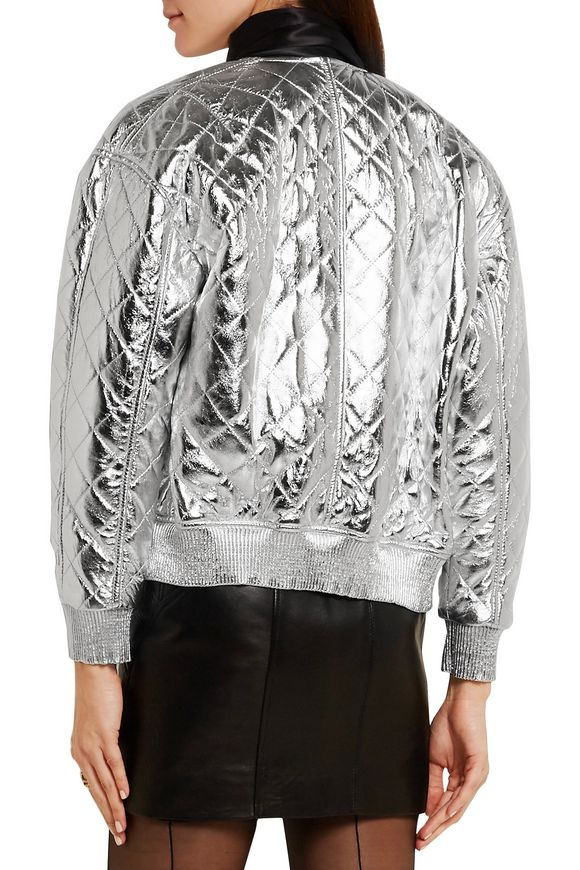 Quilted metallic leather bomber jacket | SAINT LAURENT | Sale up to 70% off  | THE OUTNET