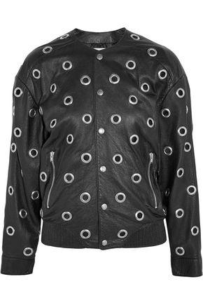 SAINT LAURENT Eyelet-embellished leather bomber jacket