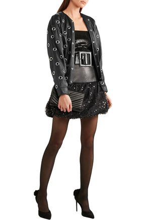SAINT LAURENT Eyelet-embellished leather bomber jacket