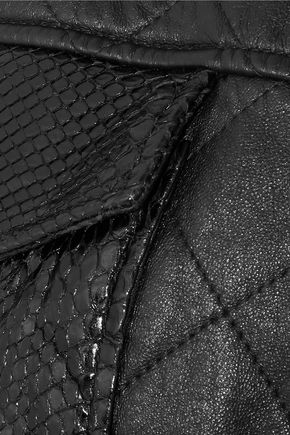SAINT LAURENT Python-trimmed quilted leather jacket
