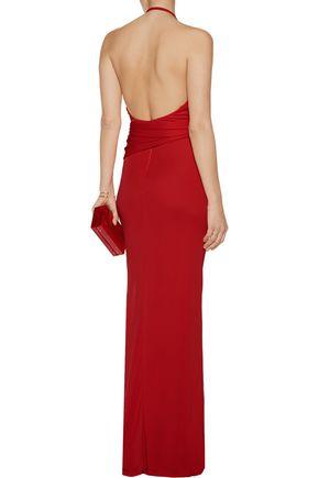 L'AGENCE Sabrina wrap-effect stretch-jersey maxi dress