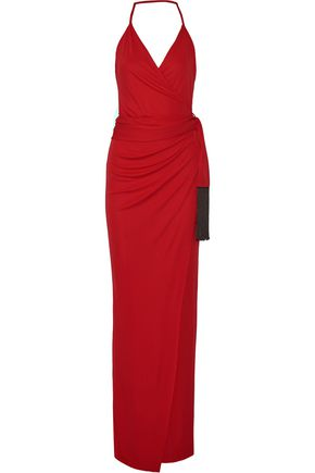 L'AGENCE Sabrina wrap-effect stretch-jersey maxi dress