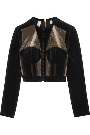 BALMAIN Cropped paneled velvet and mesh jacket
