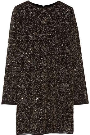 ALICE+OLIVIA Marcia bead-embellished crepe mini dress