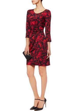 DIANE VON FURSTENBERG Zoe draped printed stretch-silk mini dress