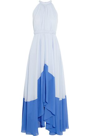SALONI Iris two-tone georgette halterneck maxi dress