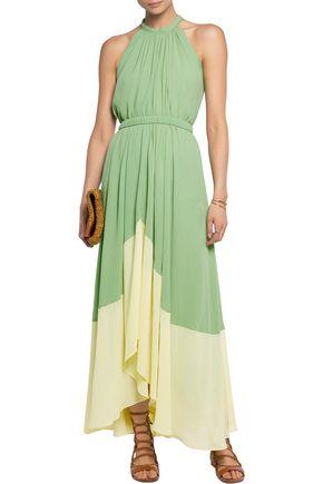 SALONI Iris two-tone georgette halterneck maxi dress