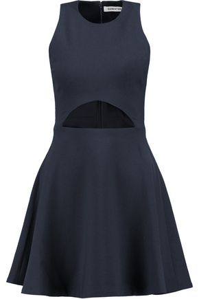 Elizabeth And James Woman Cutout Flared Cady Mini Dress Navy
