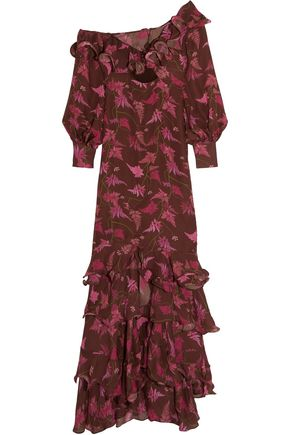 JOHANNA ORTIZ Lollia Paulina one-shoulder ruffled printed silk-georgette gown