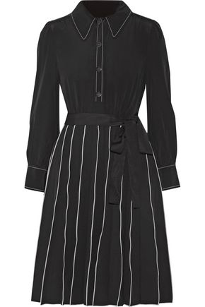 MARC JACOBS Pleated washed-silk shirt dress