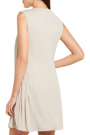 ATLEIN Ribbed cotton jersey-paneled crepe mini dress
