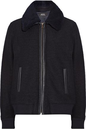 A.P.C. Stacy faux leather and shearling-trimmed wool jacket