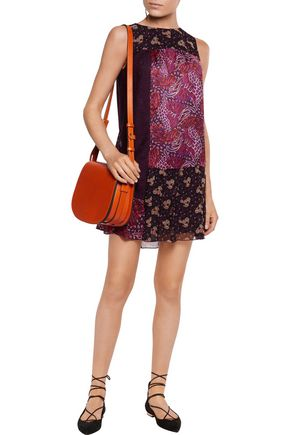 ANNA SUI Broderie anglaise-paneled crinkled silk-satin mini dress