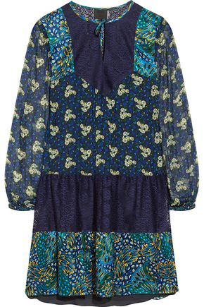 ANNA SUI Flourish lace-paneled printed crinkled-satin mini dress