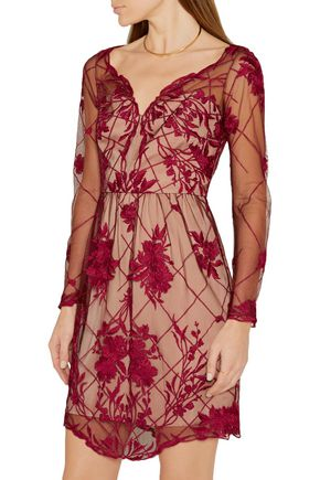 MARCHESA NOTTE Embroidered tulle mini dress