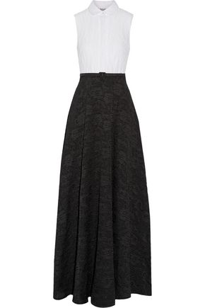 BADGLEY MISCHKA Belted jacquard gown