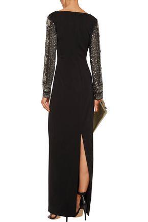 BADGLEY MISCHKA Embellished tulle-paneled cady gown