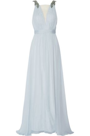 MARCHESA NOTTE Embellished silk gown