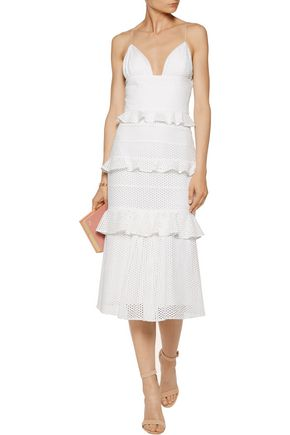 CUSHNIE ET OCHS Sofia tiered broderie anglaise cotton midi dress