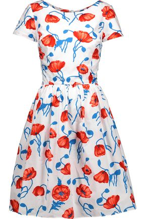 OSCAR DE LA RENTA Floral-print cotton dress