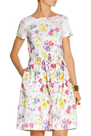 OSCAR DE LA RENTA Printed cotton-poplin dress