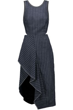 3.1 PHILLIP LIM Asymmetric pinstriped linen midi dress