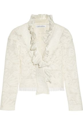 OSCAR DE LA RENTA Ruffled cotton-blend lace jacket