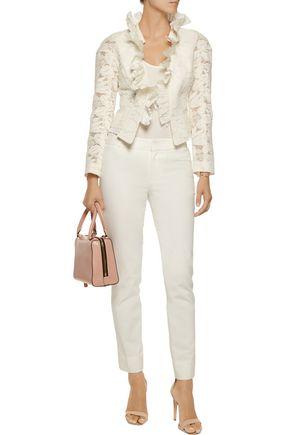 OSCAR DE LA RENTA Ruffled cotton-blend lace jacket