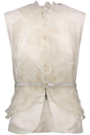 OSCAR DE LA RENTA Belted lace-trimmed ruffled silk vest