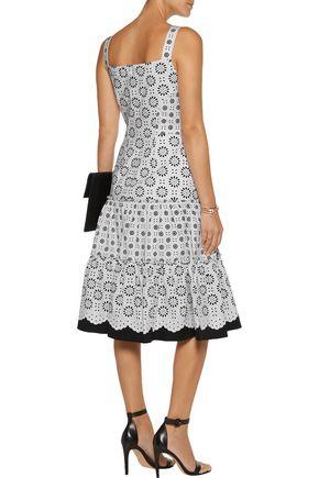 OSCAR DE LA RENTA Pleated printed cotton-poplin dress