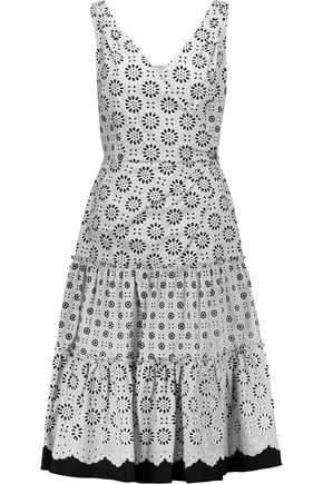 OSCAR DE LA RENTA Pleated printed cotton-poplin dress