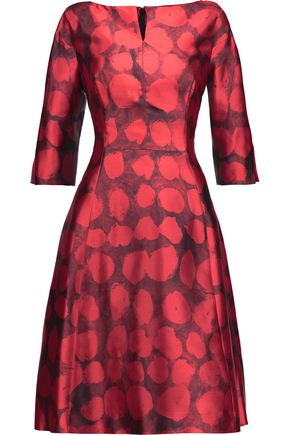 OSCAR DE LA RENTA Printed silk and cotton-blend dress