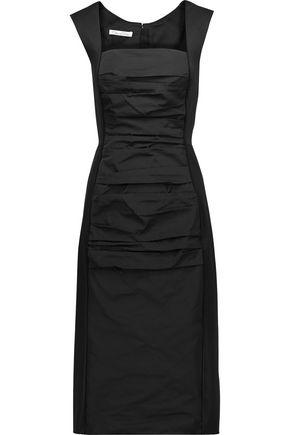 OSCAR DE LA RENTA Faille-paneled ruched shell midi dress