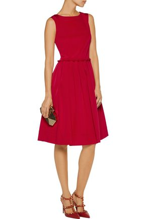 OSCAR DE LA RENTA Pleated stretch-cady dress