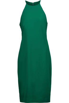 BADGLEY MISCHKA Lattice-paneled stretch-crepe dress