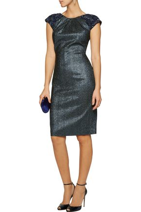 BADGLEY MISCHKA Embellished metallic jacquard dress