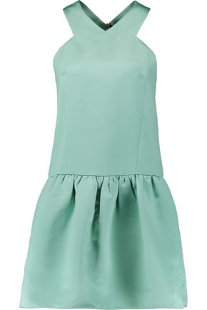 TIBI Pleated satin mini dress