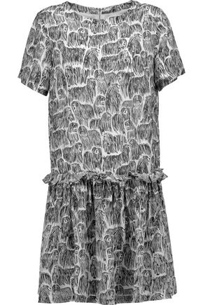 OPENING CEREMONY Komondor Mazie printed silk crepe de chine mini dress
