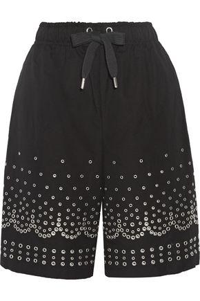 ALEXANDER WANG Eyelet-embellished cotton and linen-blend shorts