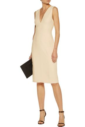 ALEXANDER WANG Leather-trimmed cutout crepe dress