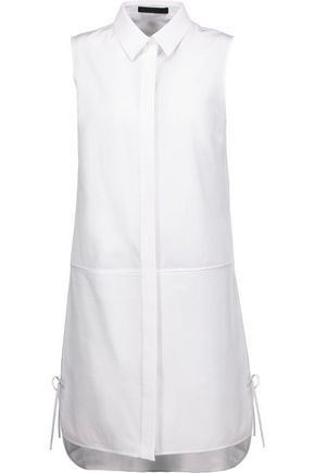 ALEXANDER WANG Paneled cotton-poplin and cotton-canvas dress