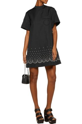 ... ALEXANDER WANG Eyelet embellished cotton and linen-blend mini dress ...