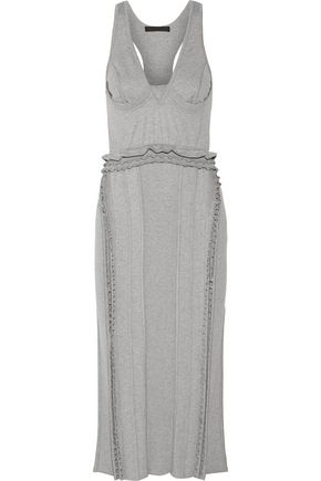 ALEXANDER WANG Ruffle-trimmed ribbed stretch-jersey dress
