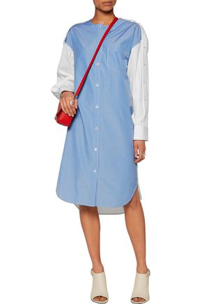 ALEXANDER WANG Paneled pinstriped cotton-poplin shirt dress