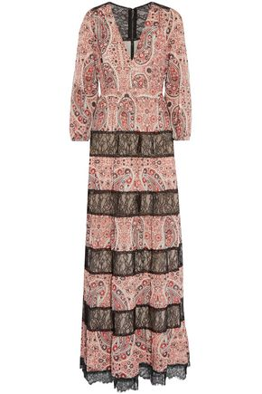 ALICE + OLIVIA Darren lace-paneled printed georgette maxi dress