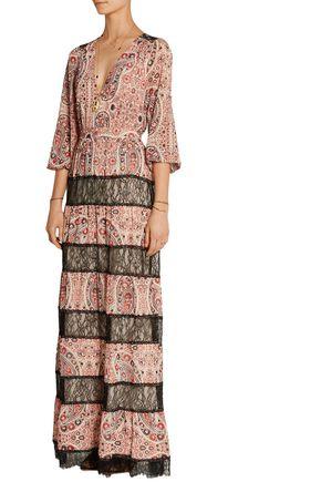 ALICE + OLIVIA Darren lace-paneled printed georgette maxi dress