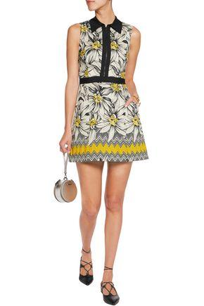 ALICE + OLIVIA Ellis poplin-trimmed cotton-blend jacquard mini dress