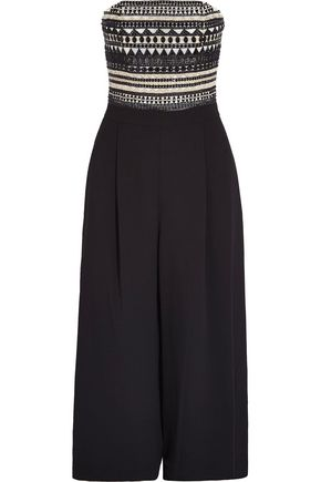 ALICE + OLIVIA Emberly beaded crepe jumpsuit