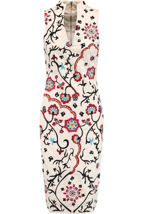 ALICE + OLIVIA Jacki embroidered cotton-blend canvas dress
